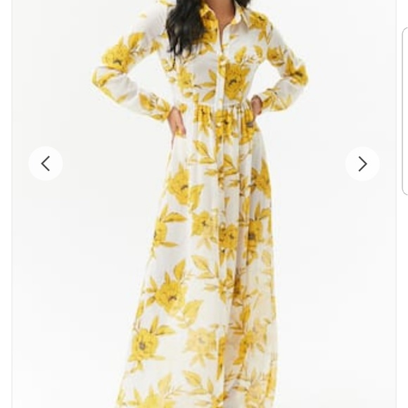 af243bedf10 Sheer Floral Chiffon Maxi Shirt Dress